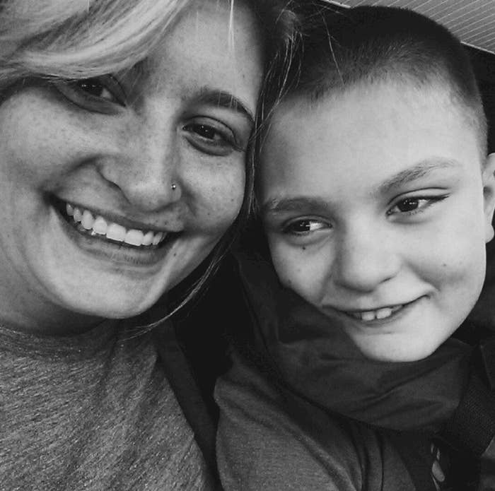 A mom and her son with special needs.