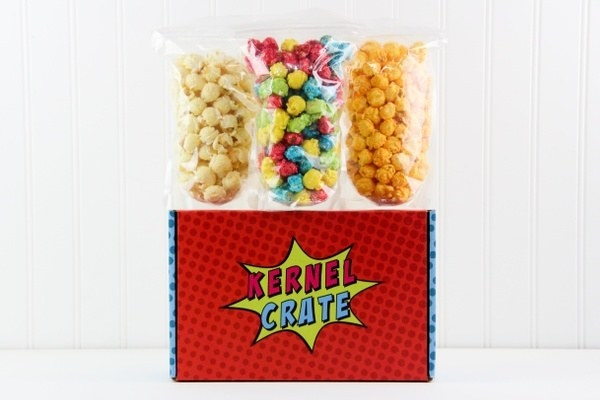 The Kernel Crate box with three different types of unique popcorn in it