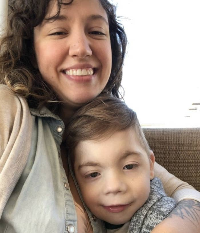 A mom and her young son with special needs.