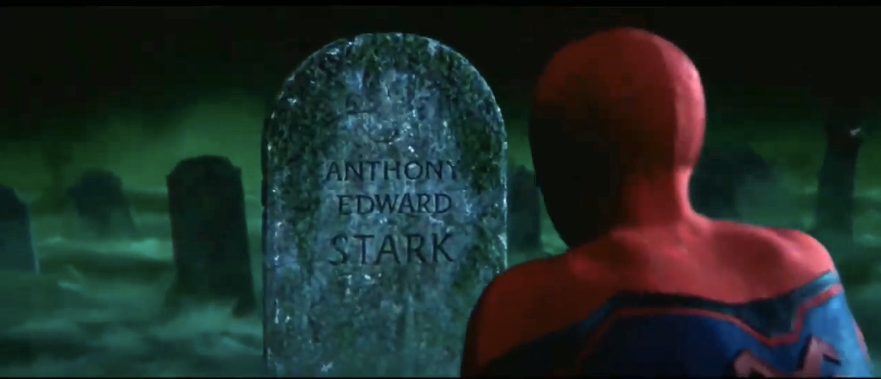 Peter Parker looking at Tony Stark's grave in an illusion scene in Far From Home.