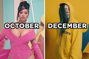 """On the left, Cardi B in the """"WAP"""" video with """"October"""" typed on top of the image, and on the right, Billie Eilish in the """"Bad Guy"""" music video with """"December"""" typed on top of the image"""