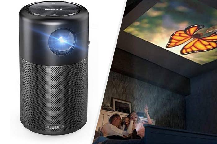 an image split in two, to the left is the cylinder projector, to the right is a family projecting a butterfly onto the ceiling