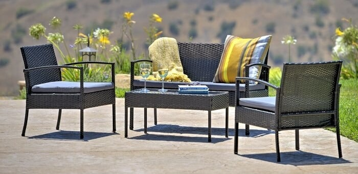 The five-piece outdoor seating set