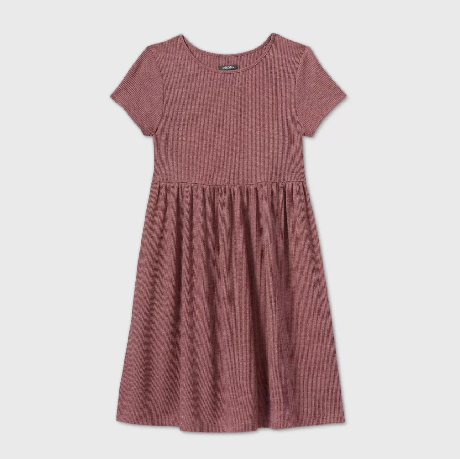 A mauve babydoll short sleeve scoop neck dress