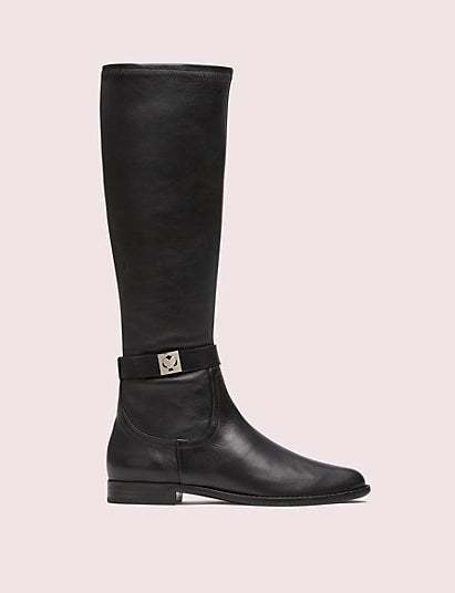 The black mid-calf boot with a low heel and silver spade design on the side