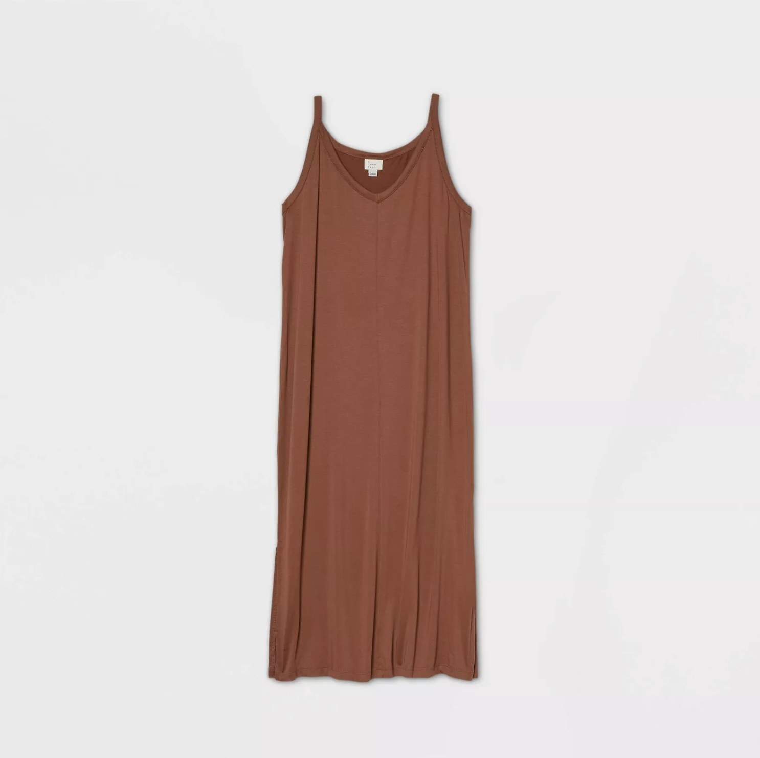 A rust sleeveless knit tank dress with a v-neckline