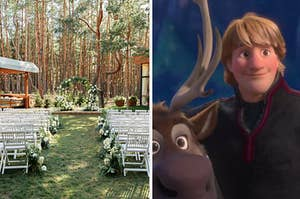a wedding altar and kristoff from frozen