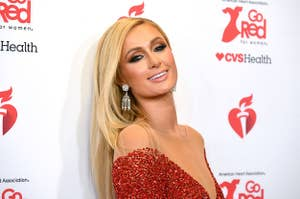 Paris Hilton poses in a bedazzled dress at a Hollywood event