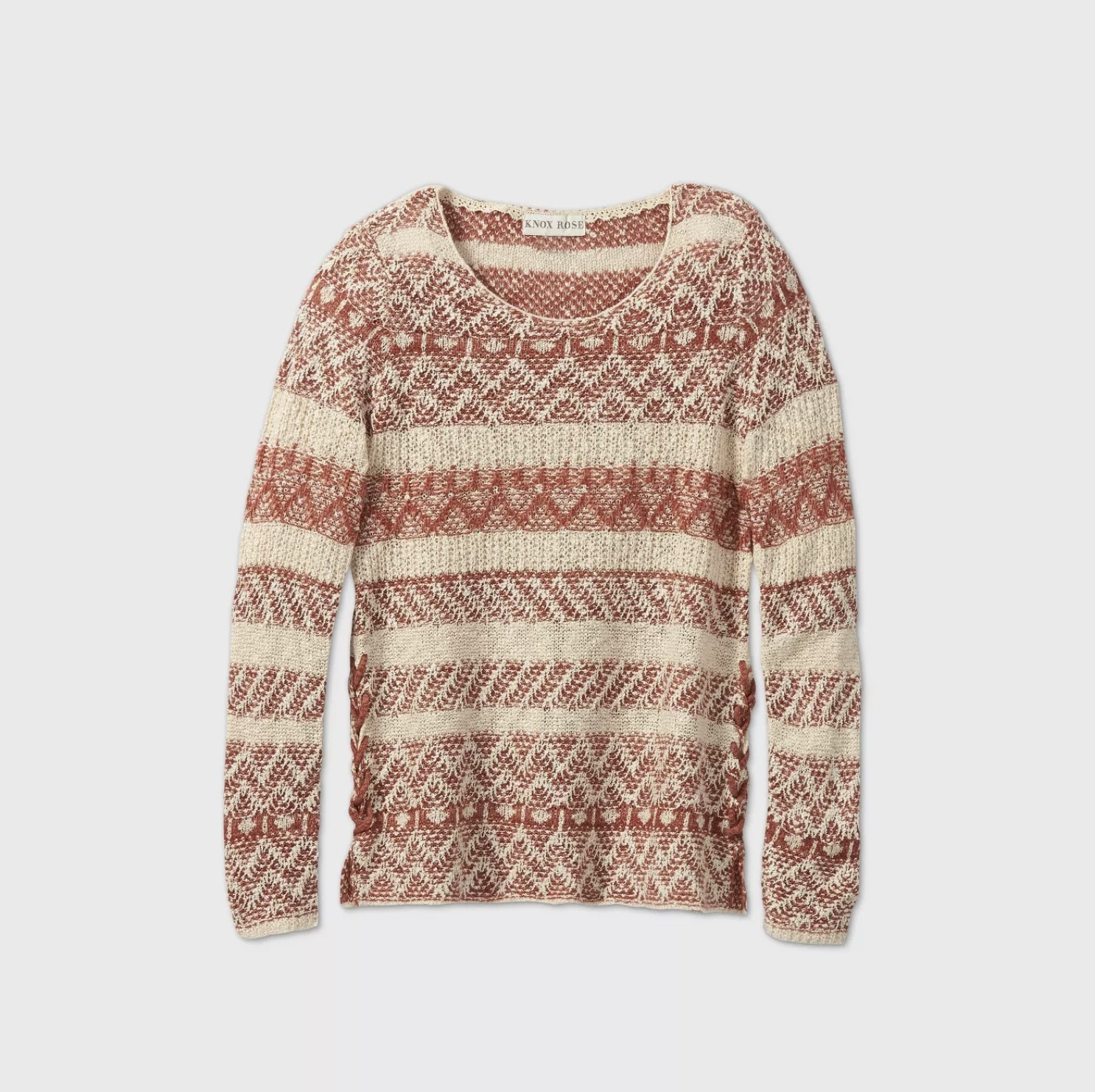 A red and cream crewneck sweater with a knitted striped design
