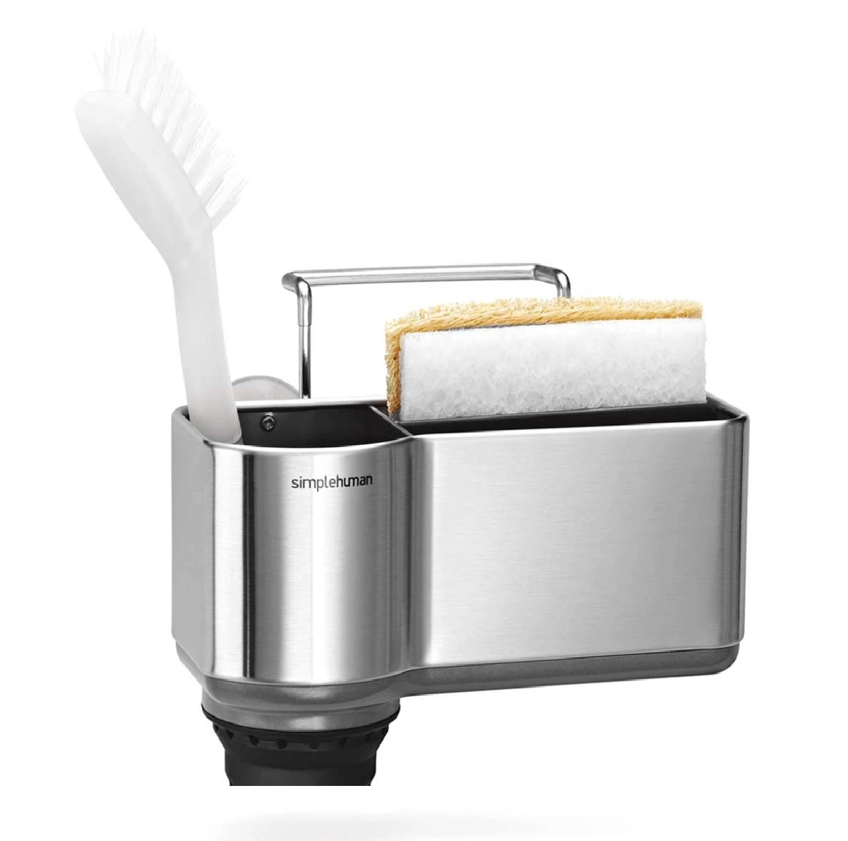 The sink caddy holding a brush and sponge