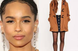 Zoë Kravitz and a model wearing a jacket and skirt.