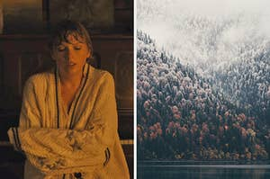 "On the left, Taylor Swift wraps a cardigan around herself in the ""Cardigan"" music video, and on the right, a foggy forest full of evergreen trees"