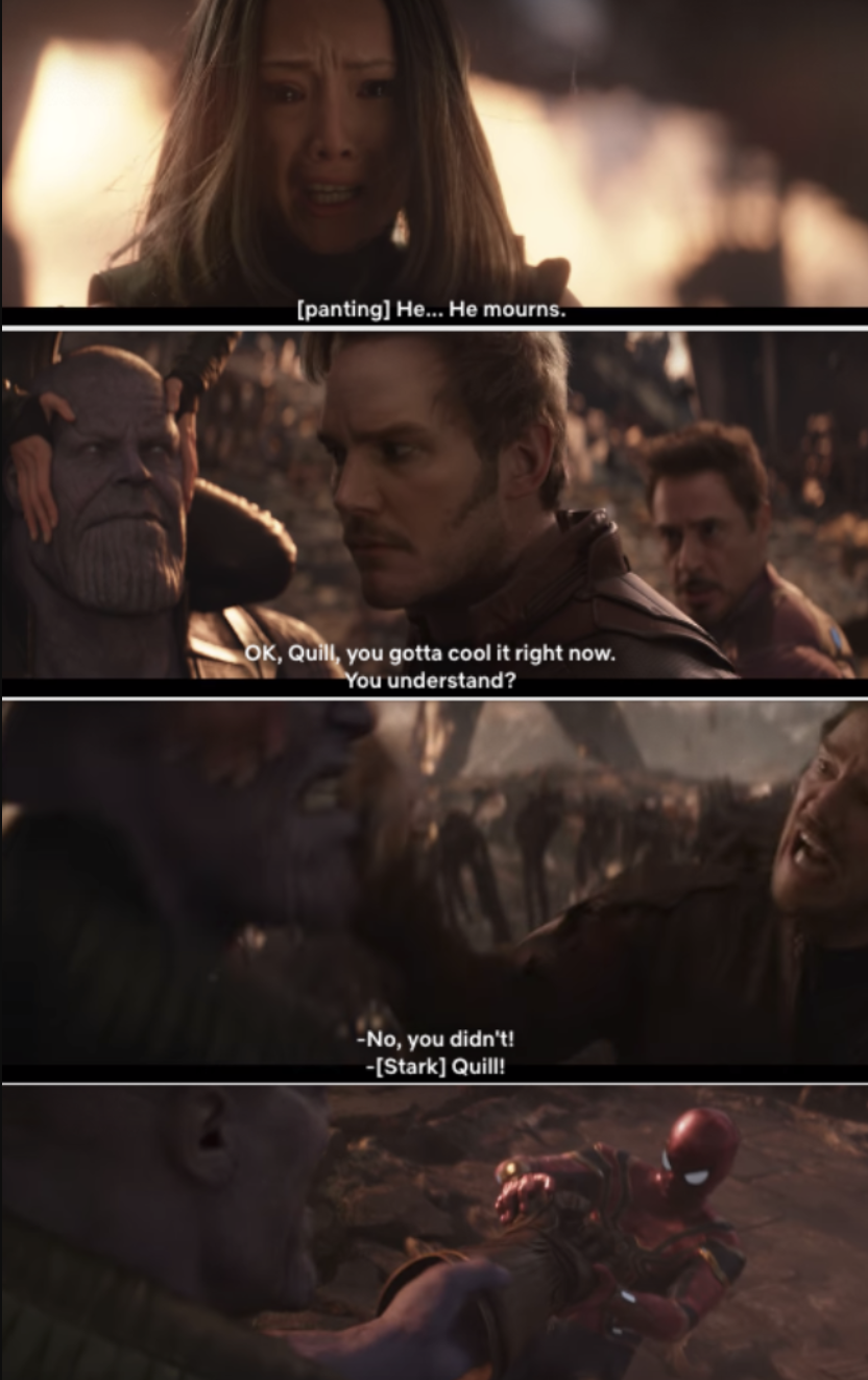 """The Avengers almost getting the Gauntlet off of Thanos's hand in """"Infinity War"""""""