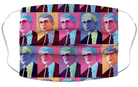 neon prints of dr. fauci on a face mask