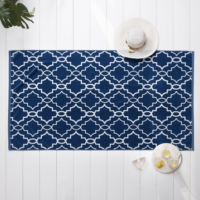 The blue and white beach towel