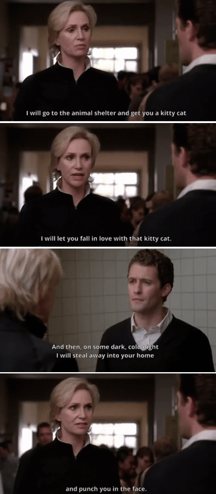 Sue insulting Will n the middle of the hallway
