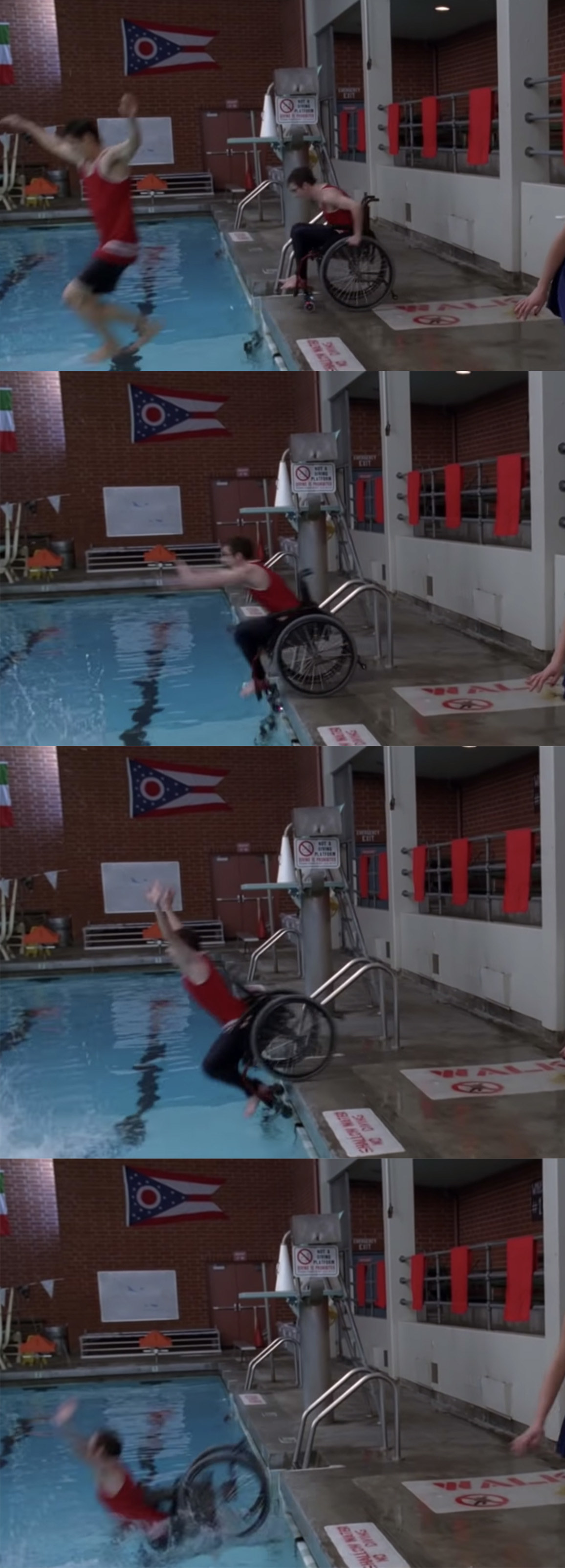 Artie wheeling himself into the pool.