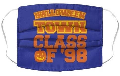 "purple mask with ""halloweentown class of '98"" written in orange"