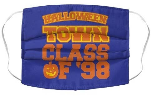 "purple mask with ""halloweentown class of '98"" written in orange"