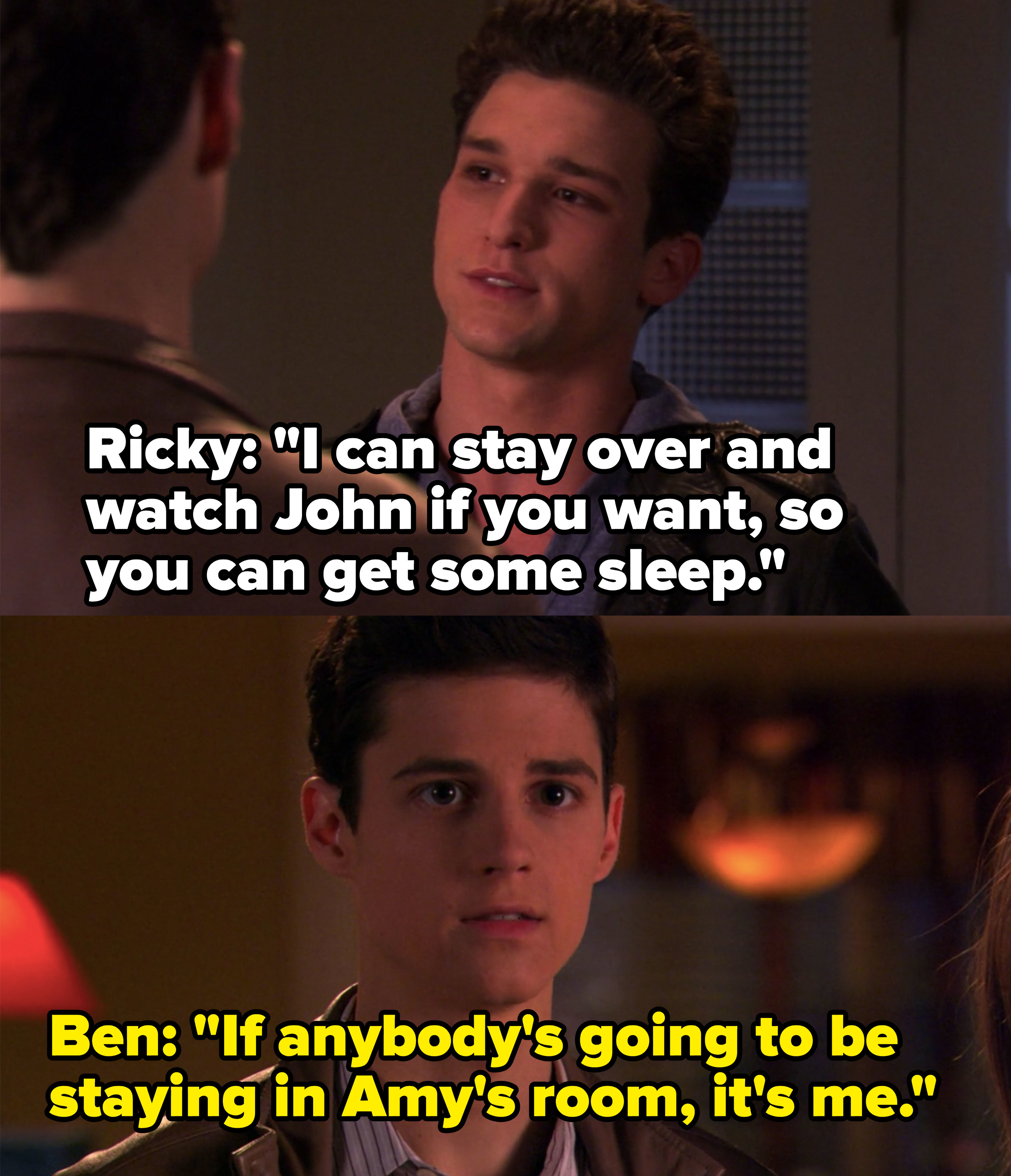 Ben tells Ricky he's the only one who will be staying in Amy's room