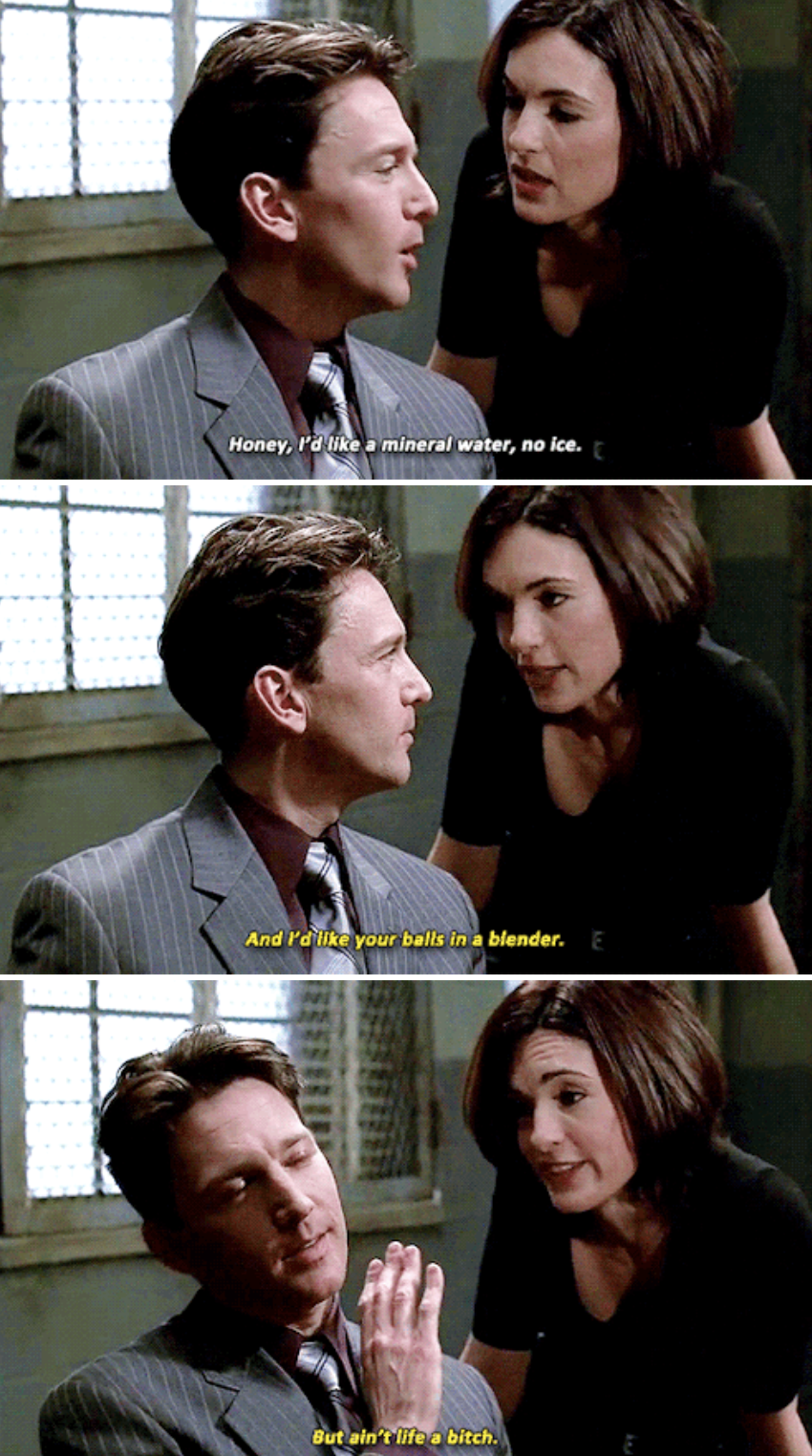 """Olivia insulting a perp in custody in one of the earlier season of """"Law & Order: SVU"""""""