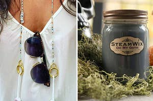 to the left: a beaded chain for masks, to the right: a black candle jar