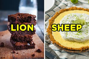 "On the left, a stack of brownies labeled ""lion,"" and on the right, a key lime pie labeled ""sheep"""