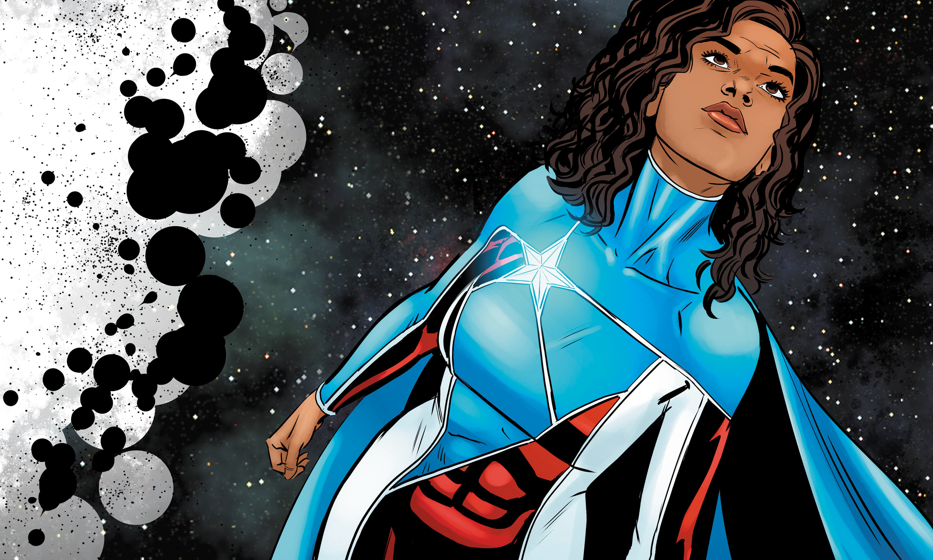 Comic illustration of character named Marisol Rios De La Luz flying in the galaxy.