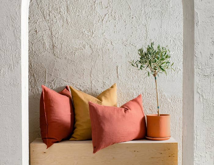 Two coral colored pillows and a rust colored pillow