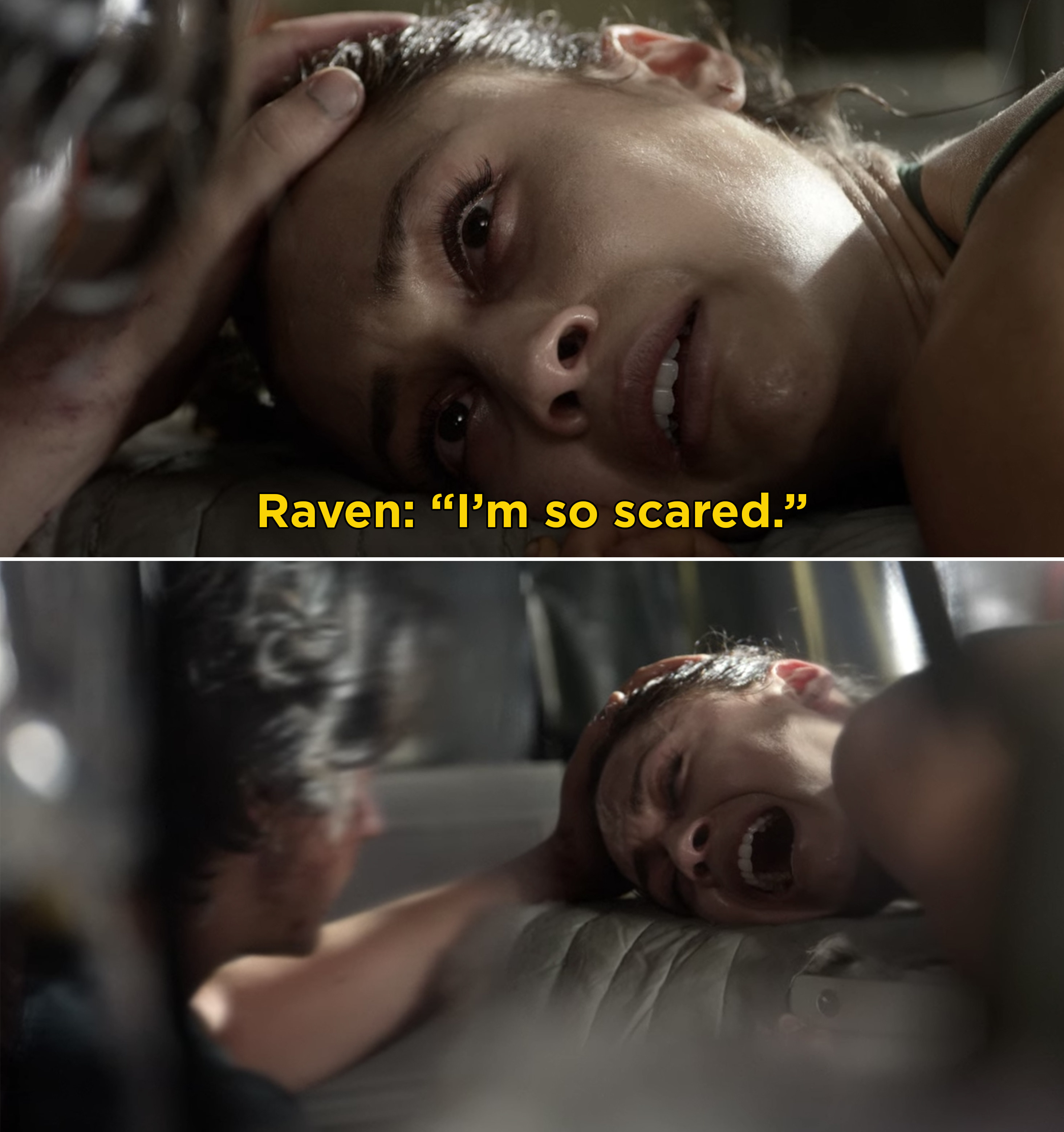 Raven crying and saying she's scared while being operated on