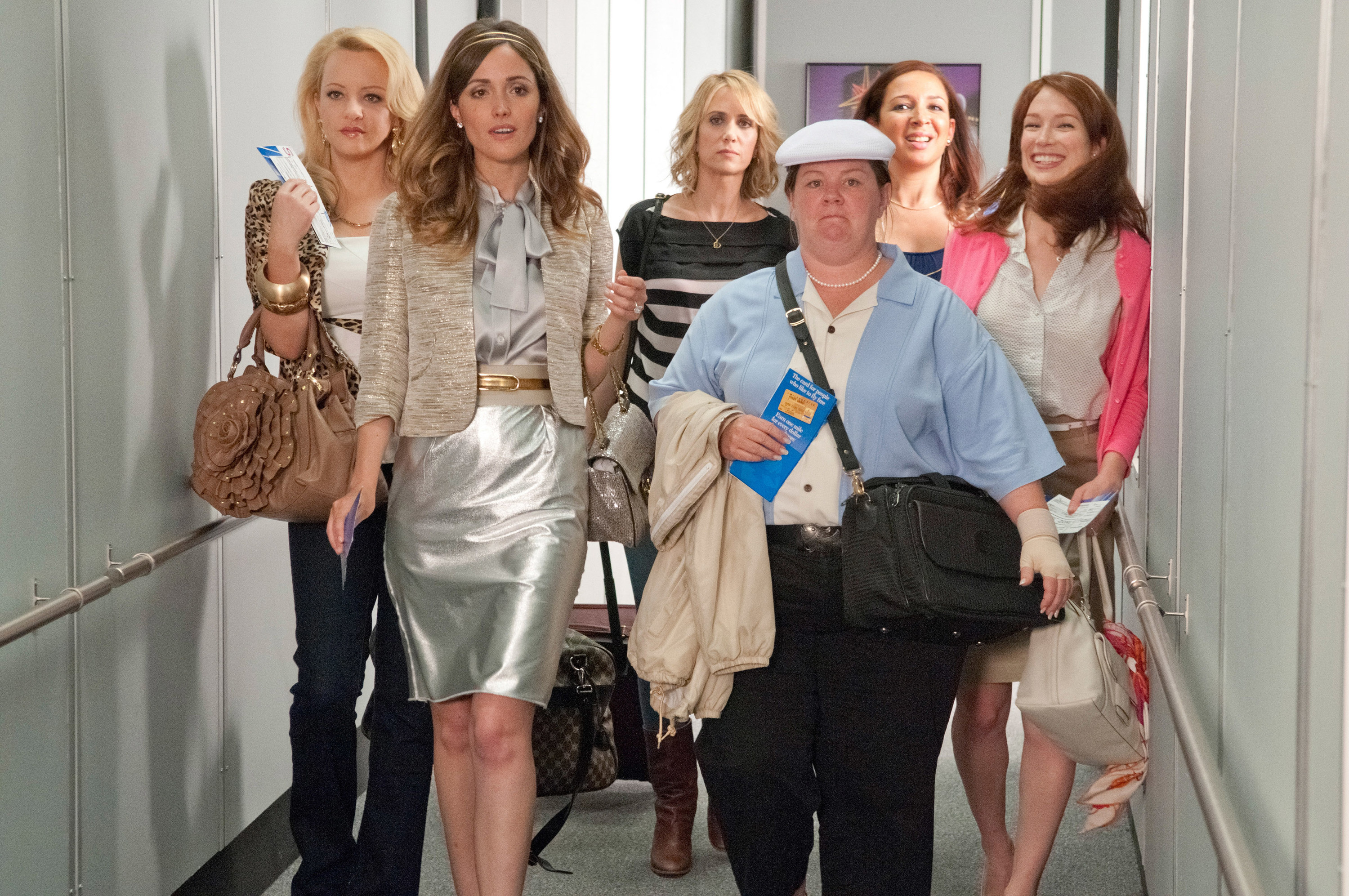 The characters in Bridesmaids leaving for the Bachelorette Party.