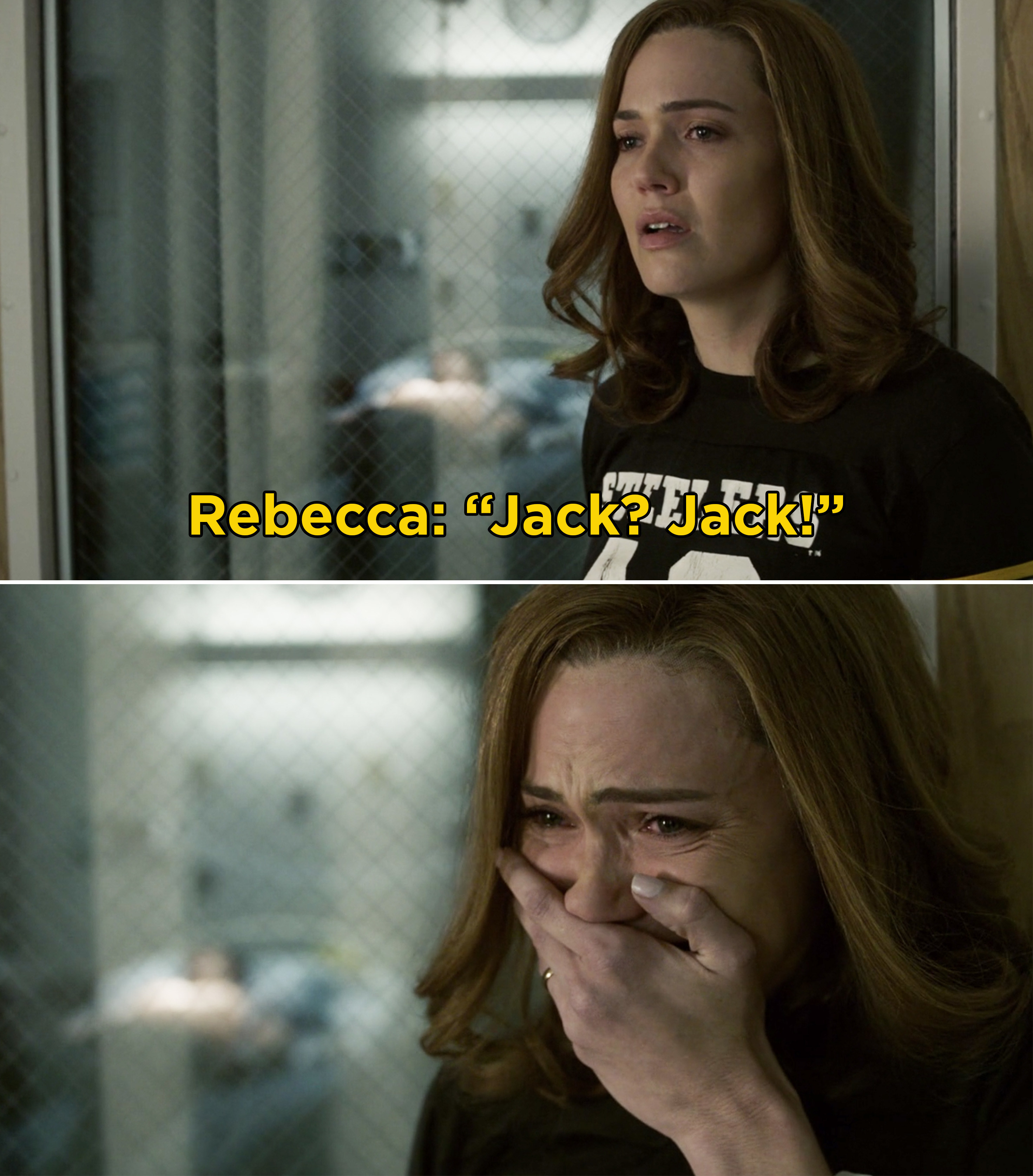 Rebecca calling after Jack, then crying after seeing his body