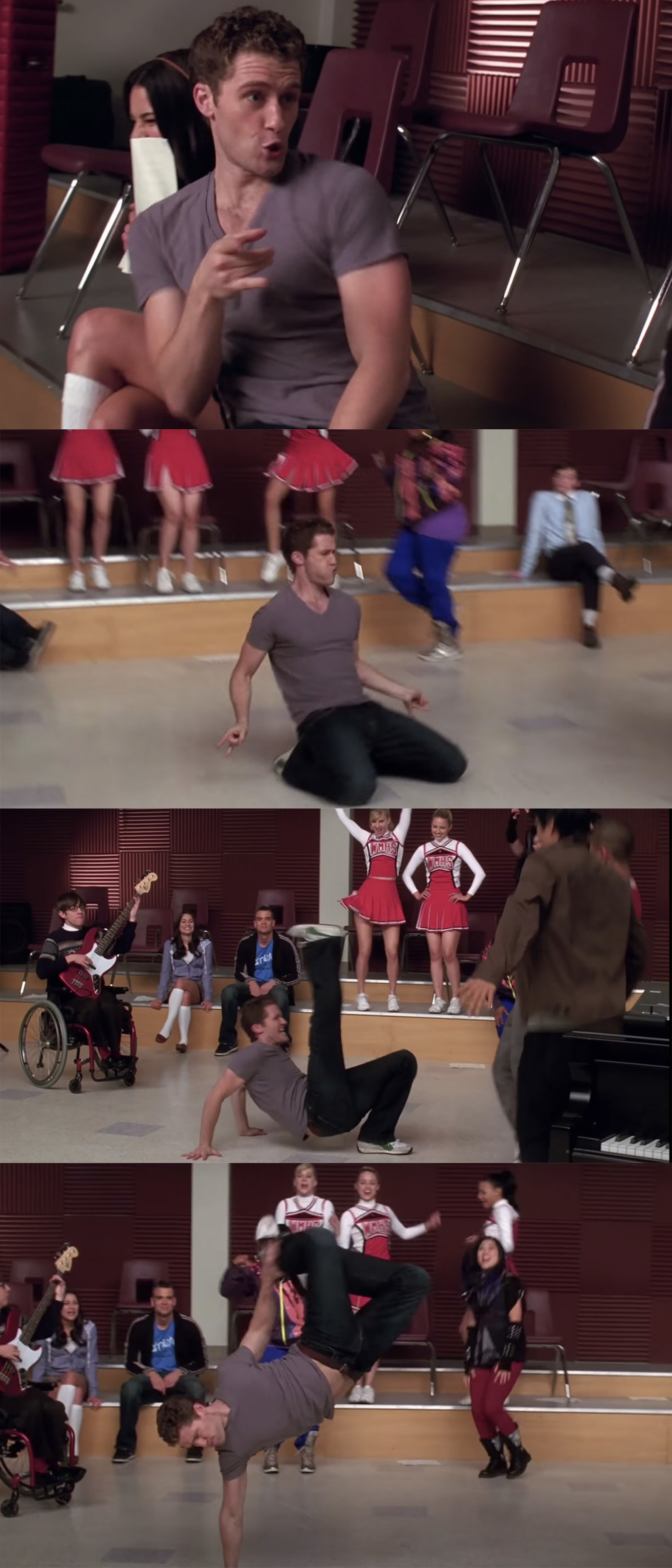 Mr. Schue dancing wildly and doing tricks. He balances on one hand while throwing his legs into the air.