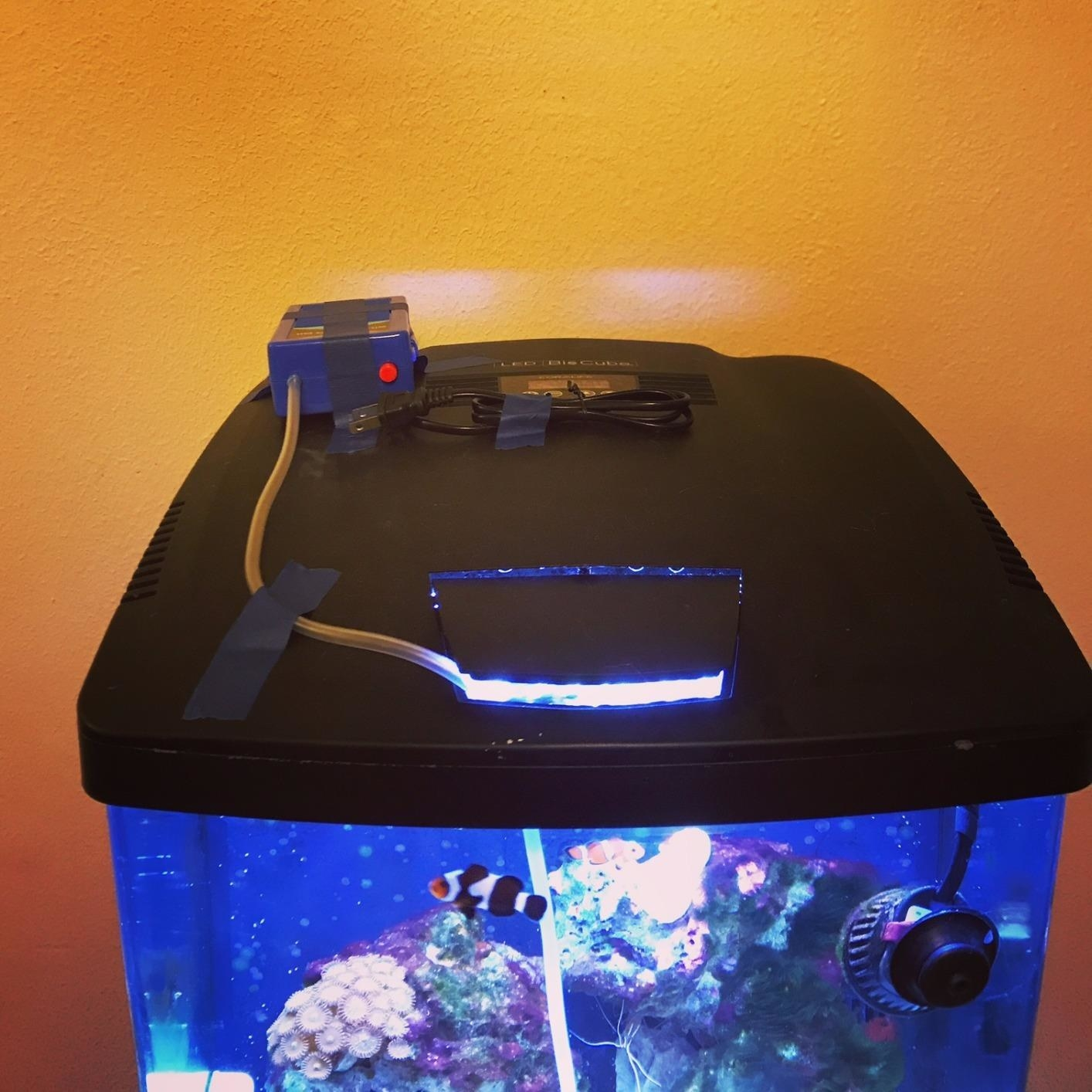 Reviewer's  tank with the emergency air pump mounted on top