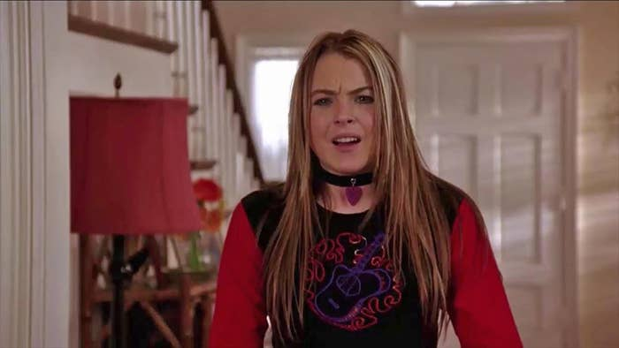 "Lindsay Lohan squints her eyes and opens her mouth as if she's about to argue as Anna in ""Freaky Friday"""