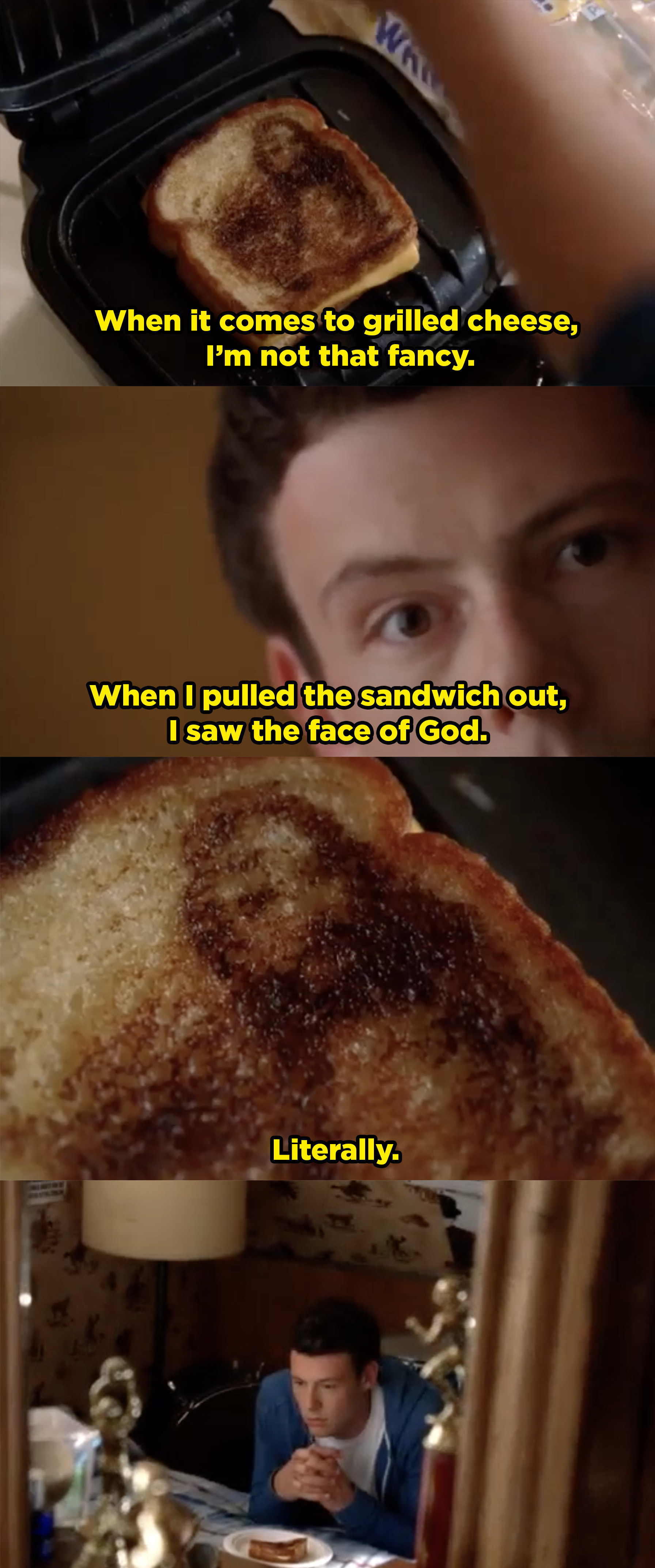 Finn praying to a grilled cheese that has a burn mark that looks like Jesus's face.