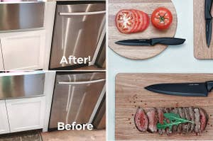 A before/after of cleaning a stainless steel dishwasher / a black knife set on cutting boards