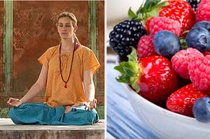 """Elizabeth from """"Eat Pray Love"""" is on the left meditating with a bowl of berries on the right"""