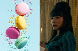 An image of macarons next to an image of Allison Hargreeves