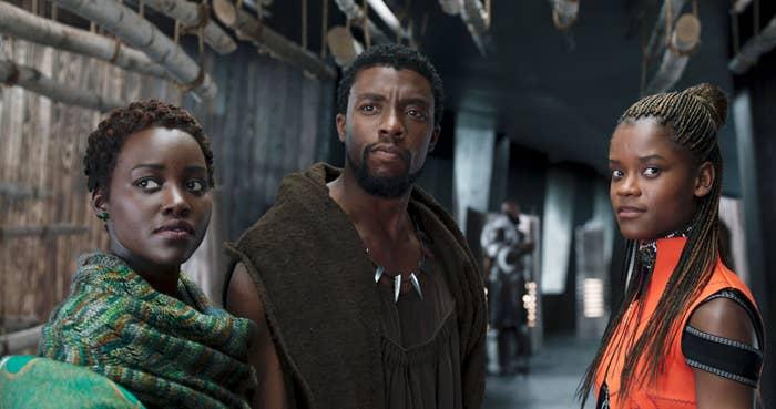 BLACK PANTHER, from left:  Lupita Nyong'o, Chadwick Boseman, Letitia Wright