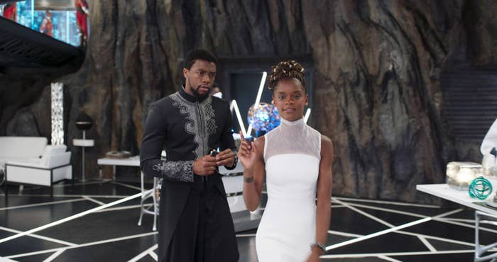 BLACK PANTHER, from left: Chadwick Boseman, Letitia Wright