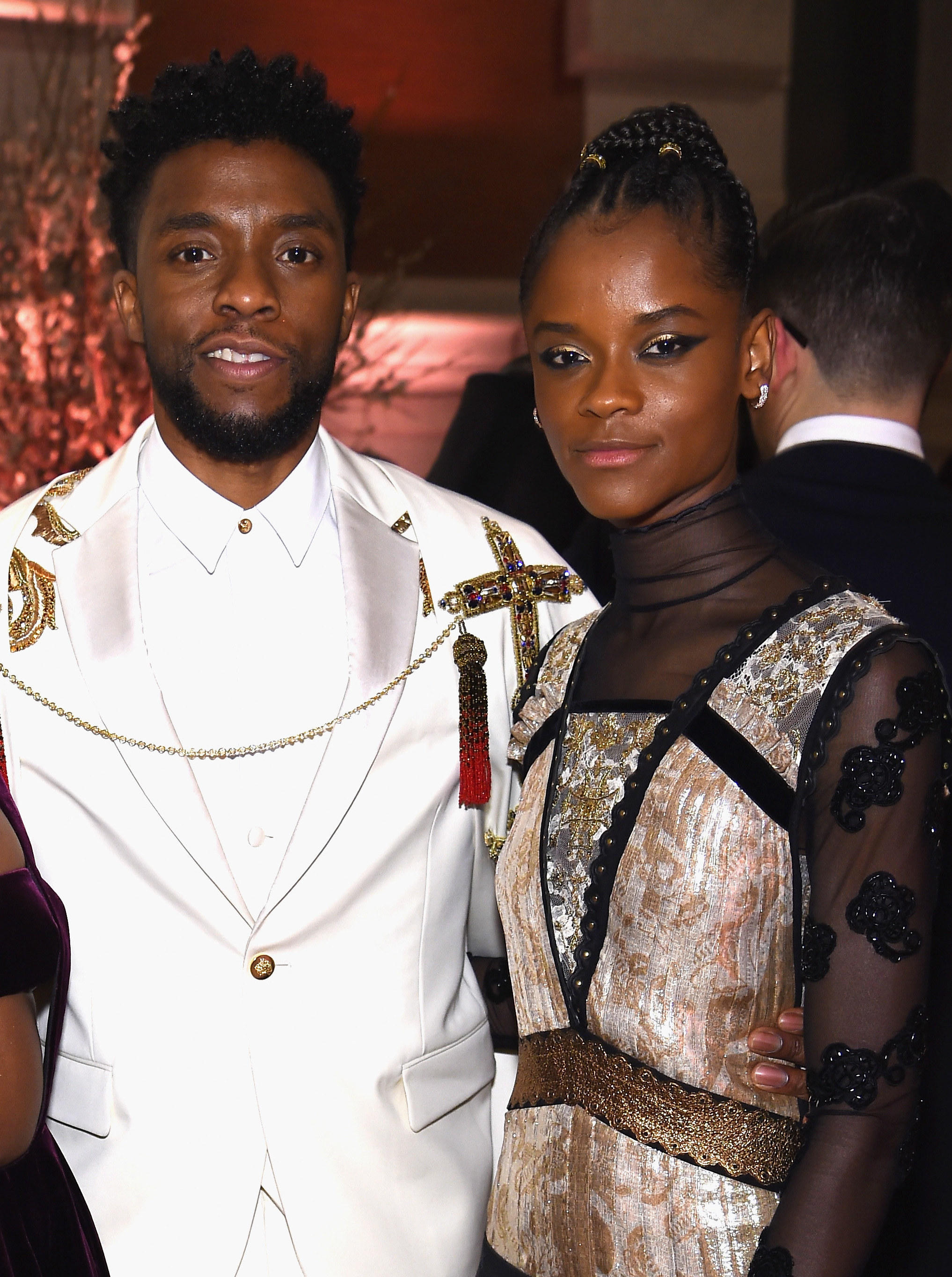 Letitia Wright and Chadwick Boseman attend the Heavenly Bodies: Fashion & The Catholic Imagination Costume Institute Gala at The Metropolitan Museum of Art on May 7, 2018 in New York City.
