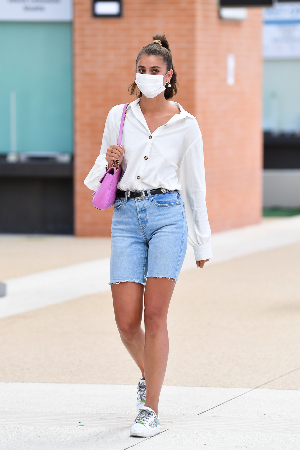 Taylor Hill is seen arriving at Venice Airport during the 77th Venice Film Festival