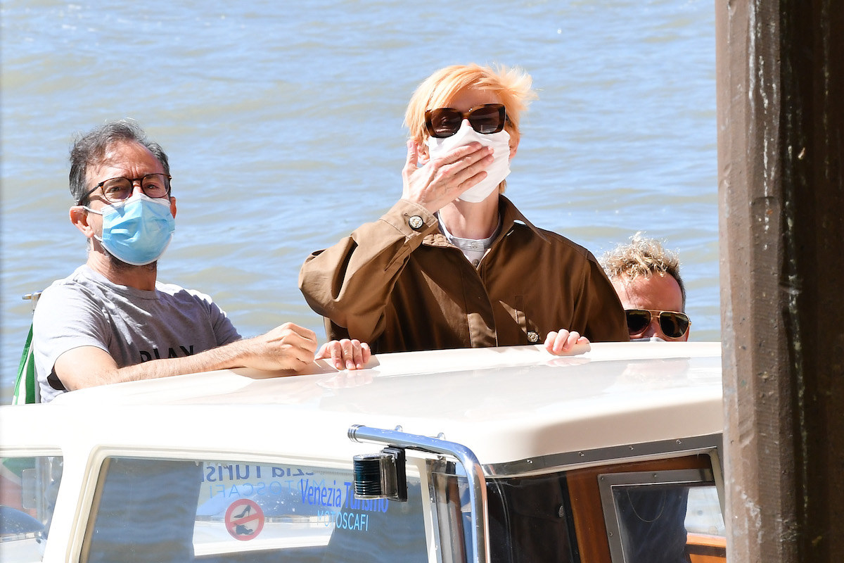 Tilda Swinton and Sandro Kopp are seen arriving at Venice Airport during the 77th Venice Film Festival