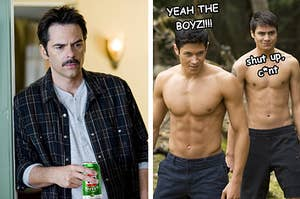 """Left: Charlie Swan from """"Twilight"""" holding a can of VB; Right: Paul and Embry saying """"Yeah the boyz!"""" and """"Shut up, c*nt"""""""