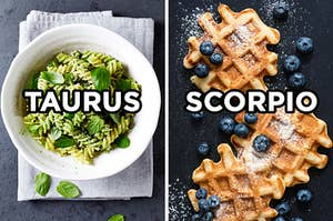 """On the left, a bowl of pesto pasta labeled """"Taurus,"""" and on the right, three waffles topped with powdered sugar and blueberries labeled """"Scorpio"""""""