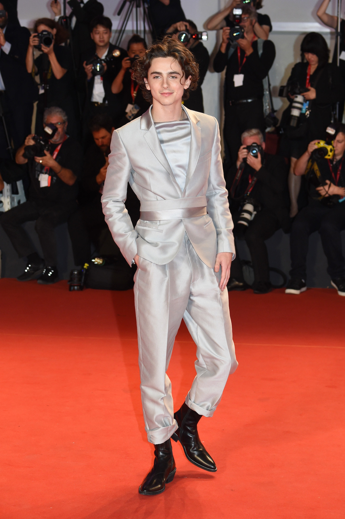 "Timothee Chalamet attends ""The King"" red carpet during the 76th Venice Film Festival."
