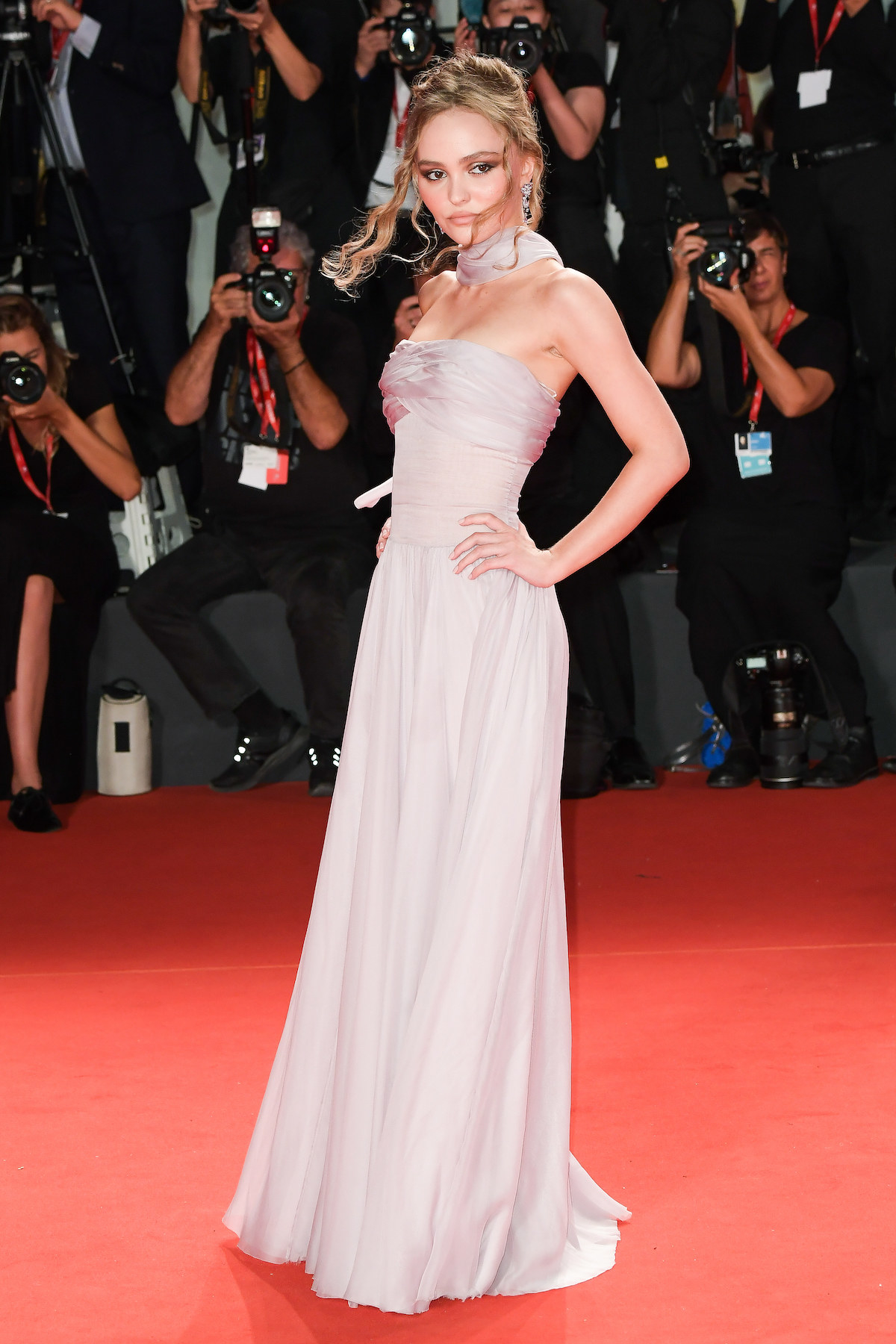 "Lily-Rose Deep attends ""The King"" red carpet during the 76th Venice Film Festival."
