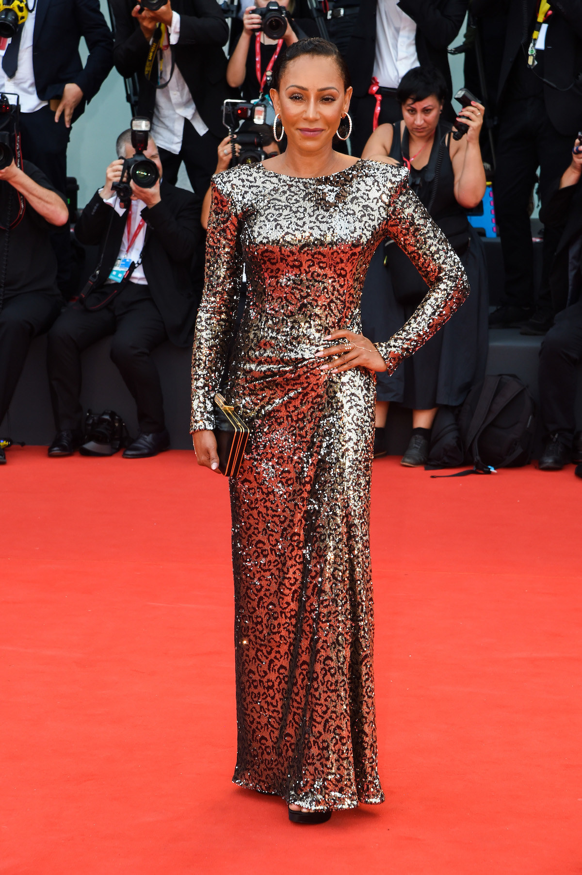 Melanie Brown walks the red carpet ahead of the opening ceremony during the 76th Venice Film Festival