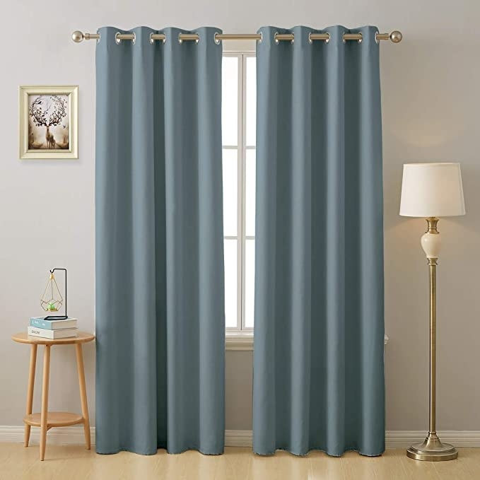 Blue blackout curtains.